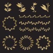 Silhouette laurel wreaths in different  shapes Stock Illustration