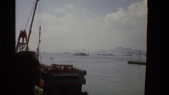 1984: a huge ship is halted on sea side with no people around it ZHONGSHAN CHINA Stock Footage