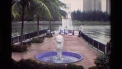 1984: artificial fountain near the river SINGAPORE Stock Footage