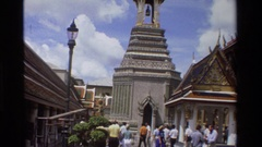 1984: the majestic bell which is placed on the top in the midst of the people Stock Footage