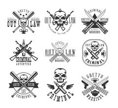 Street Outlaw Criminal Club Black And White Sign Design Templates With Text And Stock Illustration