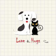 Love and Hugs - dog and cat friendship scene Stock Illustration