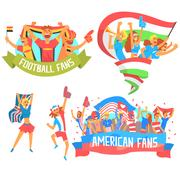 Cheering Happy Crowds Of National Sport Team Fans And Devotees With Banners And Stock Illustration