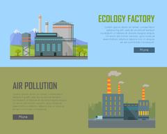 Ecology Factory and Air Pollution Plant Banners Piirros