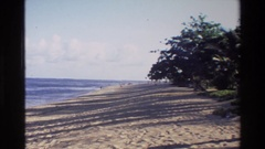1984: sandy tree shoreline with clouds in the sky CAMBODIA Stock Footage