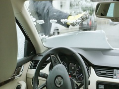 Cleaning car from snow Stock Footage