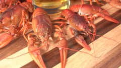 Glass of beer and a boiled crawfishes. Stock Footage