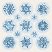 Set of Thirteen Vector Line Art Stroke Offset Geometric Blue Snowflake Shape Stock Illustration