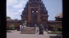 1984: steps leading up to large doors surrounded by huge ornate carvings Stock Footage