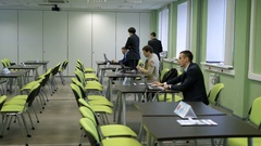 The audience for the seminars at the university. Training seminar for students Stock Footage