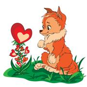 Fox in a clearing looking at flower Stock Illustration