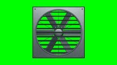 Industrial ventilator looped on green screen 3d illustration render Stock Footage