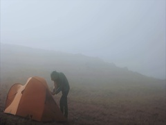 Tent camping and traveler Travel Lifestyle concept adventure Stock Footage