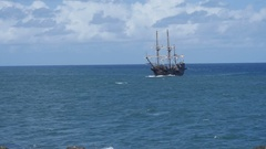 Pirate ship Galeon Andalucia at sea. 2 of 3 Stock Footage