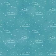 Snow and clouds vector pattern on blue background Stock Illustration