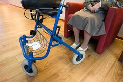 Grandma with rollator Stock Photos