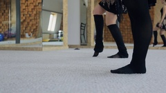 Practicing of ballet on carpet in dancing class Stock Footage