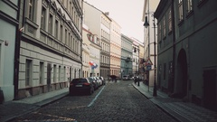 PRAGUE, CZECH REPUBLIC - DECEMBER 3, 2016. 4K steadicam video of a narrow Stock Footage