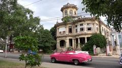 Classic Convertible Cars in Havana (calle 17, near John Lennon Park). Cuba. Stock Footage