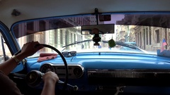 Trip on a collective taxi (old American car). View inside cabin Stock Footage