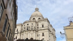 City of Lisbon National Pantheon With Tourists, Portugal Stock Footage