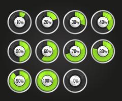Set of progress indicator circles Piirros