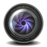 Camera photo lens with shutter. Stock Illustration