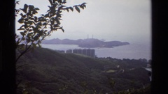 1984: the all around view of the mountains and water from the top HONG KONG Stock Footage