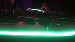 Live performance of an electronic DJ on the mixing console Stock Footage