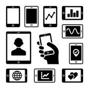 Mobile gadgets with business diagrams icons set Stock Illustration