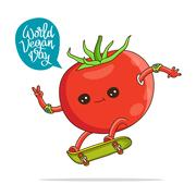 Funny tomato on a skateboard Stock Illustration
