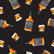 Seamless vector pattern of the bottles and glasses of Whiskey Stock Illustration