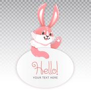 Cute rabbit cartoon waving hand. Vector illustration grouped and layered easy Piirros