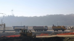 Vehicle shot of Construction Site Early In The Morning Stock Footage