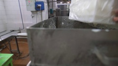 Cheese making tank with contents Stock Footage