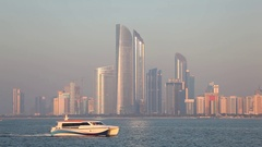 Skyline of Abu Dhabi, UAE Stock Footage