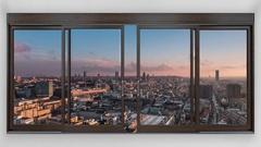 Bruxelles skyline timelapse seen through window Stock Footage