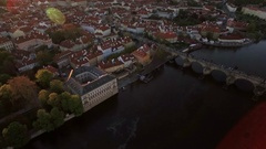 Aerial view along Vltava river in the summer. Prague, Czech Republic Stock Footage