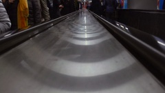 People and escalators in the underground Stock Footage