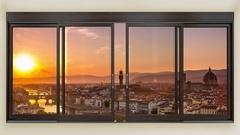Florence skyline timelapse seen through window Stock Footage