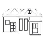 Outline family house exterior concept Stock Illustration