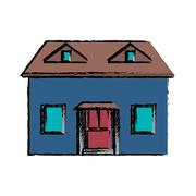 Drawing blue house red door simple Stock Illustration