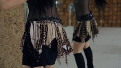 """Coach performing shaking belly dance and exercise """"Eight hips Stock Footage"""