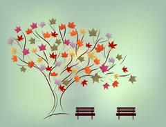 Background of autumn alley Stock Illustration
