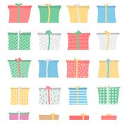 Set of gift boxes in different colors and patterns, asymmetric style Stock Illustration