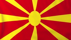 Flag of Macedonia waving in the wind, seemless loop animation Stock Footage