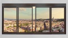 Rome skyline cityscape seen from window timelapse Stock Footage