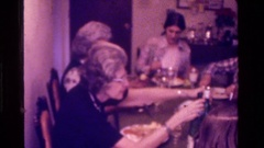 1975: eating at a family dinner CALIFORNIA Stock Footage