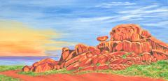 Australian Outback Rocks Stock Illustration