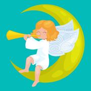 Christmas holiday flying angel with wings and golden trumpet on the moon li.. Stock Illustration